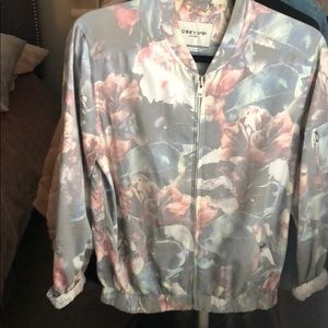 Floral gray bomber jacket!